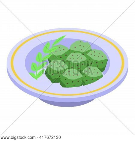 Green Exotic Falafel Icon. Isometric Of Green Exotic Falafel Vector Icon For Web Design Isolated On