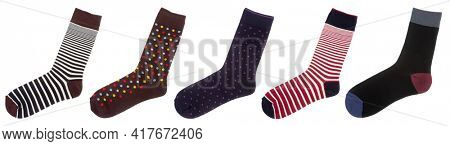 Five flat multi-colored striped and dotted cotton-blend socks isolated on a white background