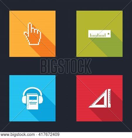 Set Pixel Hand Cursor, Ruler, Audio Book And Triangular Ruler Icon. Vector