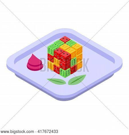 Cube Fruit Salad Icon. Isometric Of Cube Fruit Salad Vector Icon For Web Design Isolated On White Ba
