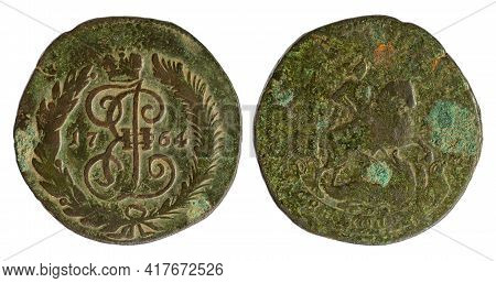 Copper Coin Of The Russian Empire. Two Kopecks In 1764, Catherine Ii