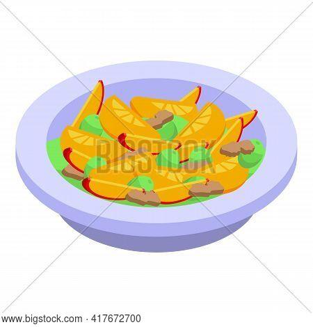 Fresh Fruit Salad Icon. Isometric Of Fresh Fruit Salad Vector Icon For Web Design Isolated On White