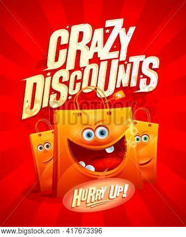 Super sale, crazy prices - poster design with cartoon funny paper shopping bag, rasterized version