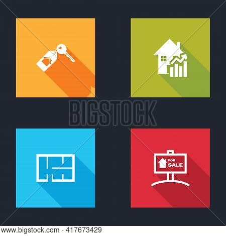 Set House With Key, Rising Cost Of Housing, Plan And Hanging Sign For Sale Icon. Vector