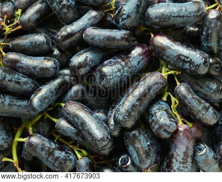 Tasty, Black, Ripe Sweet Sapphire Grapes Close Up, Background