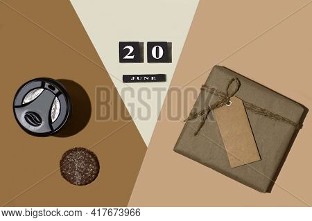 Gift Box, Coffee With Cookies And Father's Day Celebration Date June 20, 2021 On Trendy Minimal Isom