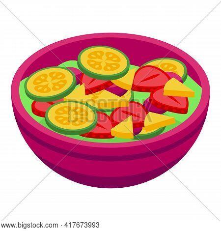 Eco Fruit Salad Icon. Isometric Of Eco Fruit Salad Vector Icon For Web Design Isolated On White Back