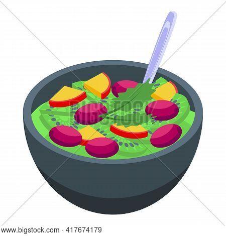 Kiwi Fruit Salad Icon. Isometric Of Kiwi Fruit Salad Vector Icon For Web Design Isolated On White Ba