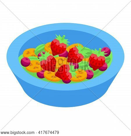 Strawberry Fruit Salad Icon. Isometric Of Strawberry Fruit Salad Vector Icon For Web Design Isolated