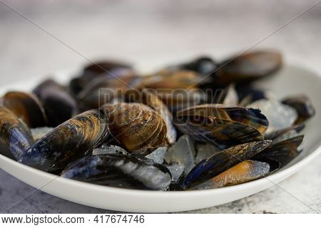 Shellfish raw mussels in ceramic white bowl, placed on stone gray background