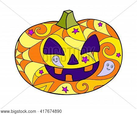 Halloween Pumpkin - Vector Linear Color Illustration. Jack's Lantern - Multicolored Stained Glass Or