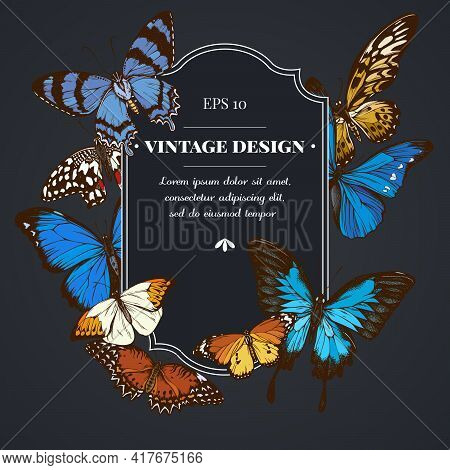 Dark Badge Design With Blue Morpho, Red Lacewing, African Giant Swallowtail, Alcides Agathyrsus, Gre