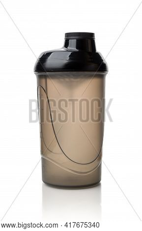 Protein Shaker Bottle Isolated On White Background. Translucent Plastic Container For Mixing Protein