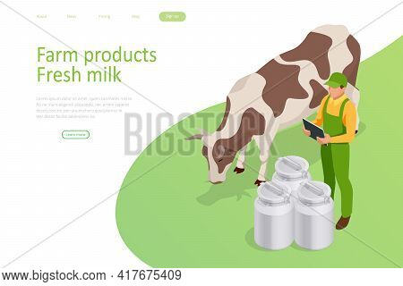 Isometric Farmer Is Working On The Organic Farm With Dairy Cows. Milk Produce Production Chain From