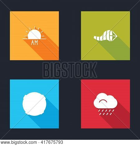 Set Sunrise, Cone Meteorology Windsock Wind Vane, Moon And Cloud With Rain Icon. Vector