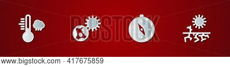 Set Meteorology Thermometer, Earth Globe And Sun, Compass And Drought Icon. Vector