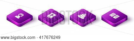 Set Isometric Jesus Christ, Holy Bible Book, Stack Hot Stones And The Commandments Icon. Vector