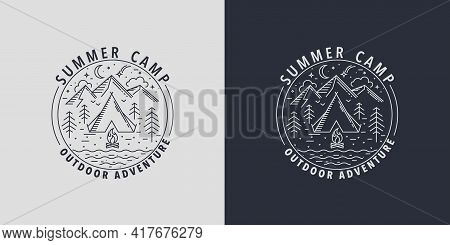 Summer Camp Badges.logo For Camping Activities In Wildlife.emblem For Scout With Tent, Bonfire, Moun