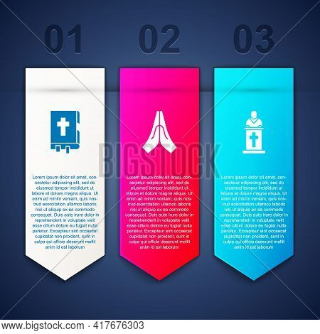 Set Holy Bible Book, Hands In Praying Position And Church Pastor Preaching. Business Infographic Tem