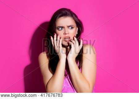 Scared Woman. Different Emotions. Portrait Of Shocked Girl. Woman Cover Open Mouth. People Reactions
