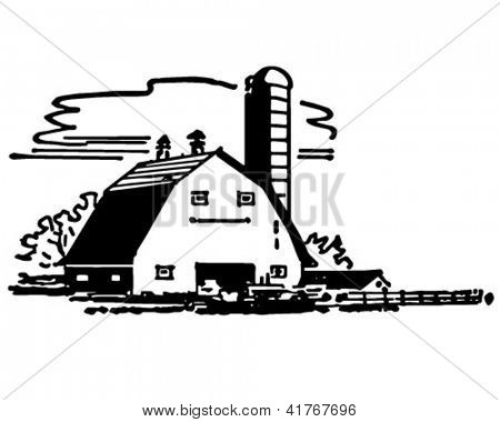 Scheune und Silo - Retro Clipart Illustration