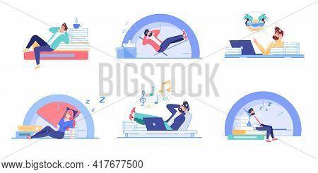 Set Of Vector Cartoon Flat Office Worker Characters Procrastinating.bad Employees Sleeps, Vacation D