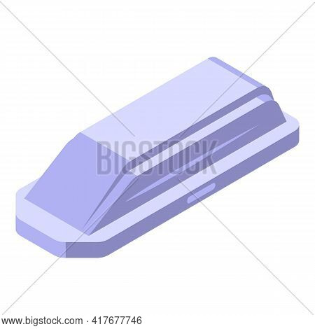 Car Roof Travel Box Icon. Isometric Of Car Roof Travel Box Vector Icon For Web Design Isolated On Wh