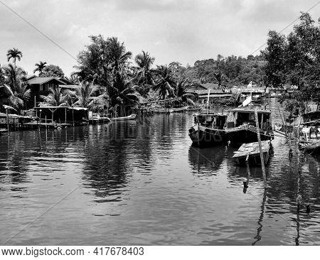 Monochrome Borneo Sarawak River Fishing Village Scene