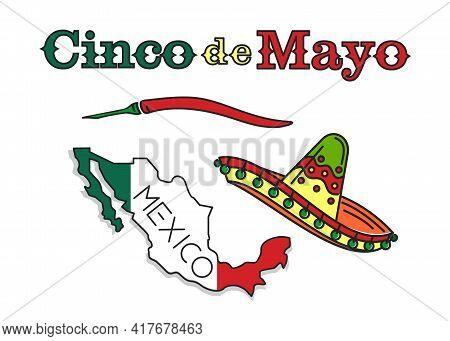 Cinco De Mayo Logo Icon Design. National Holiday Of Mexico With Mexican Symbols Sombrero Hat, Red Ho