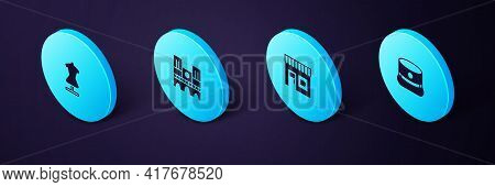 Set Isometric Kepi, Coffee Shop, Notre Dame And Mannequin Icon. Vector