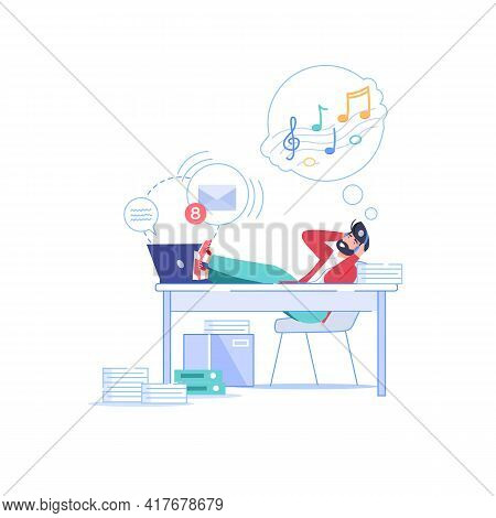 Vector Cartoon Flat Manager Office Worker Character Procrastinating At Workplace.lazy Bad Employee L