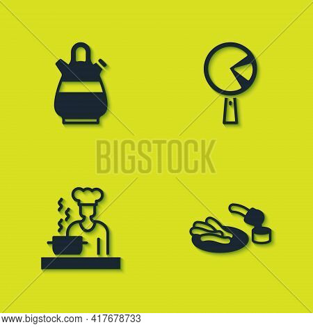 Set Sangria Pitcher, Churros And Chocolate, Spanish Cook And Omelette In Frying Icon. Vector