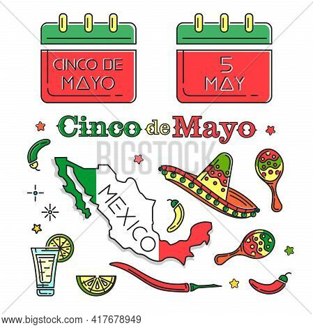 Cinco De Mayo Colored Icons Set. Symbols Collection For Annual Mexican Celebration. May 5. Holiday D