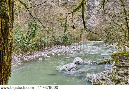 Mountain River Khosta , Flowing In The Yew And Boxwood Grove Of The Caucasian Biosphere Reserve, Rus