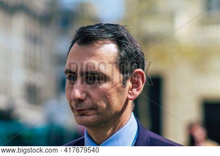 Reims France April 20, 2021 Laurent Jacobelli, Spokesperson For The Rassemblement National Supports