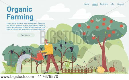 Vector Cartoon Flat Farmer Character Grows Plantings, Garden Worker Tending Fruits, Vegetables Crops