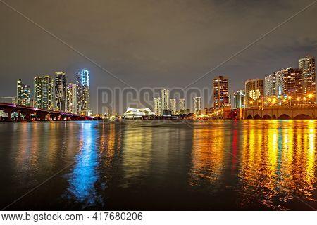 Miami Night. Miami, Florida, Usa Downtown Skyline.