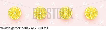 Lemons. Fresh Lemon Background. Bright Color Background. Fresh Citrus. Vector Illustration