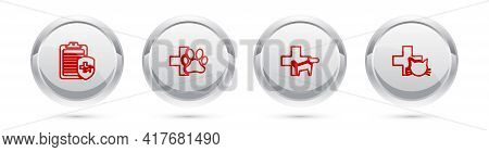 Set Line Clinical Record Pet, Veterinary Clinic, And . Silver Circle Button. Vector