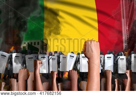 Protest In Mali - Police Squad Stand Against The Demonstrators Crowd On Flag Background, Riot Stoppi