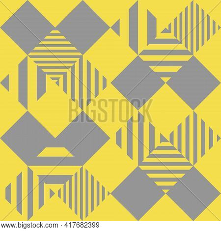 Seamless Abstract Pattern. Checkered Diamond Shape Yellow Background. Big And Small Gray Lines Horiz