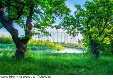 Summer Scenery Of Sunrise On River. Beautiful Early Morning. Soft Mist Above Water Of River. Brightl