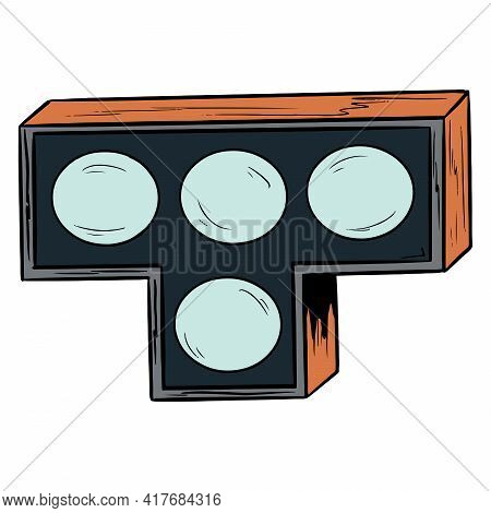 Traffic Light. Traffic Light For Transport. Lunar Traffic Light. Cartoon Style.