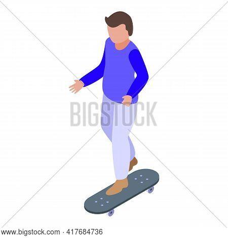 Hyperactivity Kid Skateboard Icon. Isometric Of Hyperactivity Kid Skateboard Vector Icon For Web Des