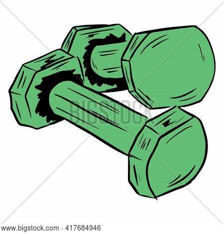 Dumbbells For Fitness. Kilogram Dumbbells. For Fitness Training. Exercises For The Body. Cartoon Sty