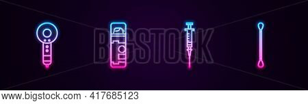 Set Line Hair Dryer, Shaving Gel Foam, Syringe And Cotton Swab For Ears. Glowing Neon Icon. Vector