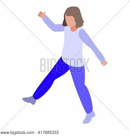 Hyperactivity Kid Walking Icon. Isometric Of Hyperactivity Kid Walking Vector Icon For Web Design Is