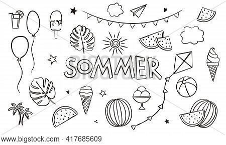 German Summer Coloring. Doodle Elements For Seasonal Calendar. Hand-drawn Doodle Objects Isolated On