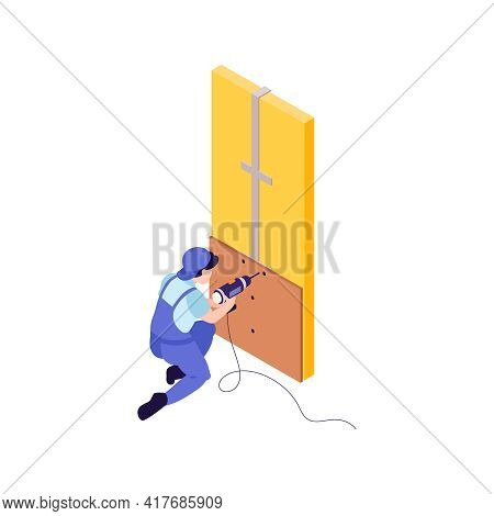 Character Of Fitter Working With Electric Drill In Apartment Isometric Icon Vector Illustration