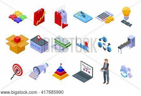 Marketing Mix Icons Set. Isometric Set Of Marketing Mix Vector Icons For Web Design Isolated On Whit